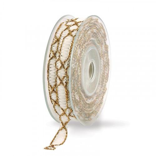 Wstążka tkana z ozdobną złotą nicią