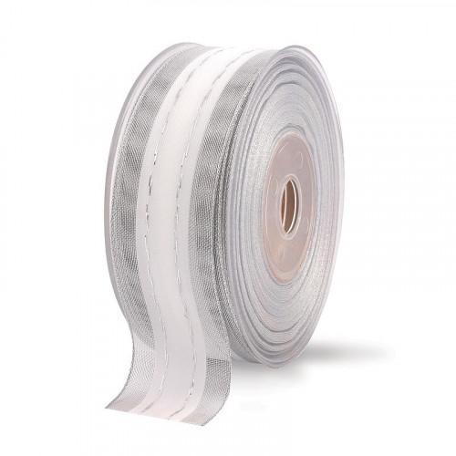Biało-srebrna wstążka tkana